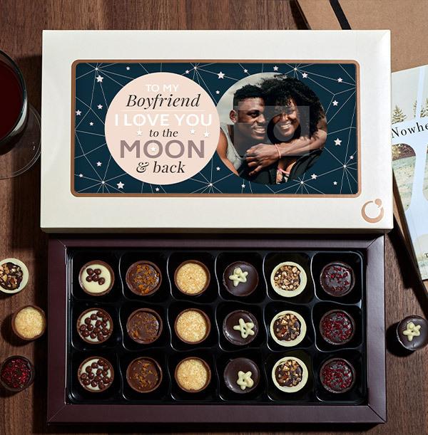 Boyfriend To The Moon & Back Photo Chocolates - 18 Box