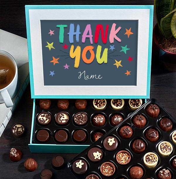 Rainbow Thank You Personalised Chocolates - 60 Box
