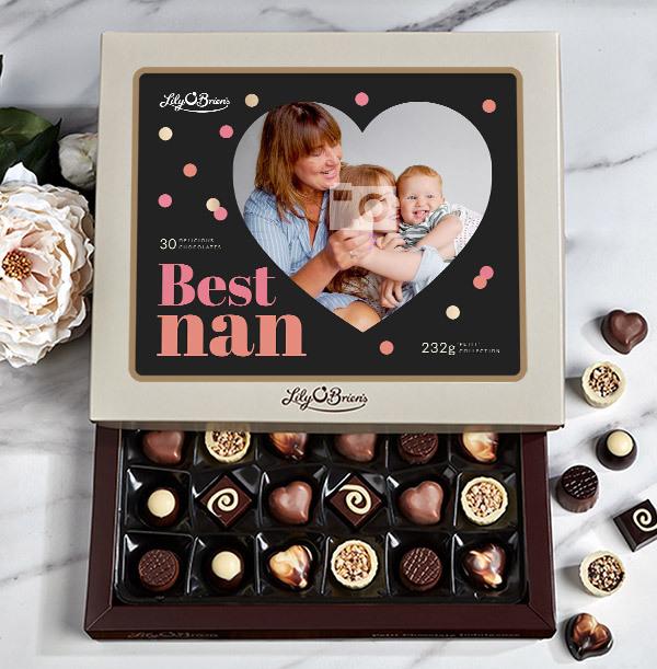 Best Nan Personalised Photo Chocolate - Box of 30