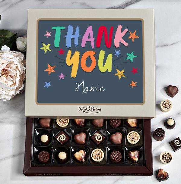 Rainbow Thank You Personalised Chocolates - 30 Box