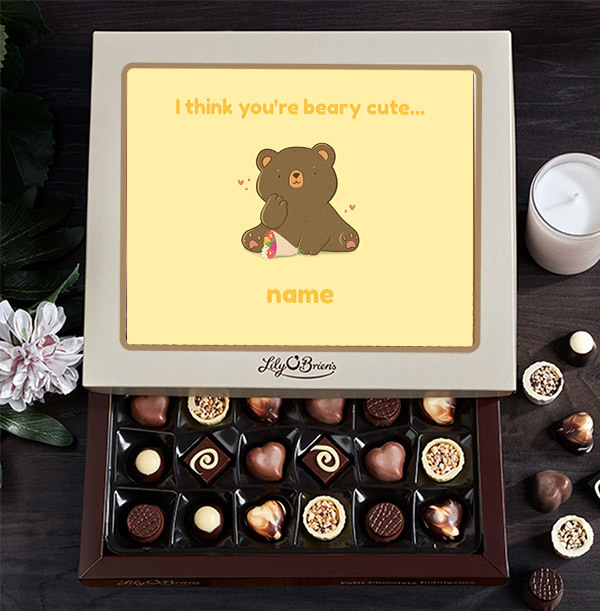 I Think You're Beary Cute Personalised Chocolates - 30 Box