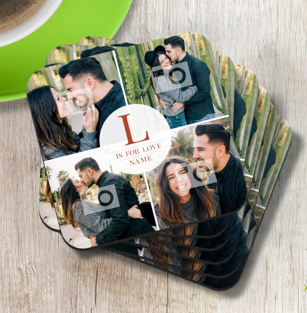 L is for Love Personalised Coaster
