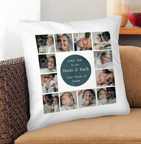 Love You To The Moon & Back Daddy Multi Photo Upload Cushion