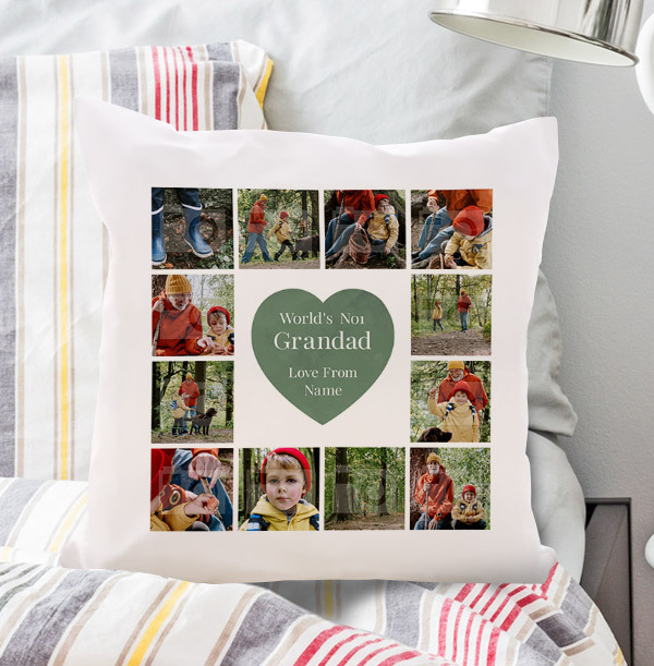 Worlds No.1 Grandad Multi Photo Upload Cushion