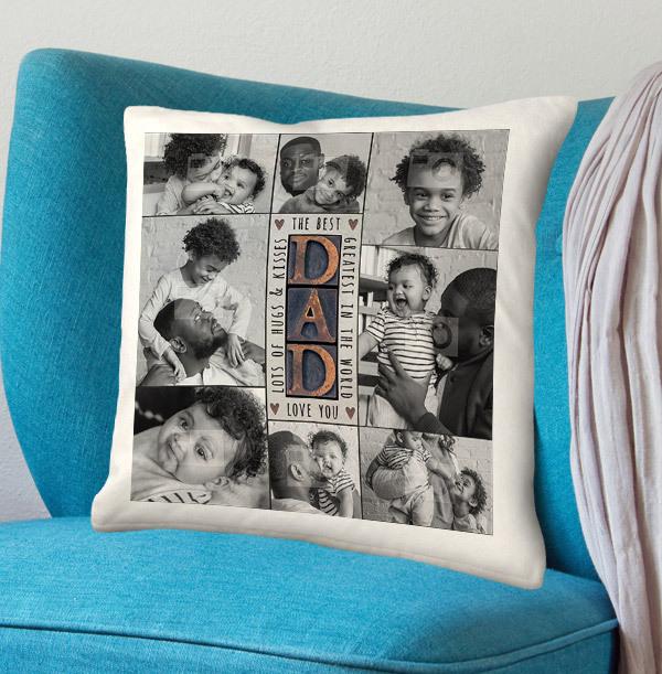 The Best Dad Multi Photo Upload Cushion
