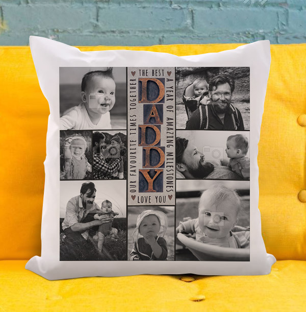 The Best Daddy Multi Photo Upload Cushion