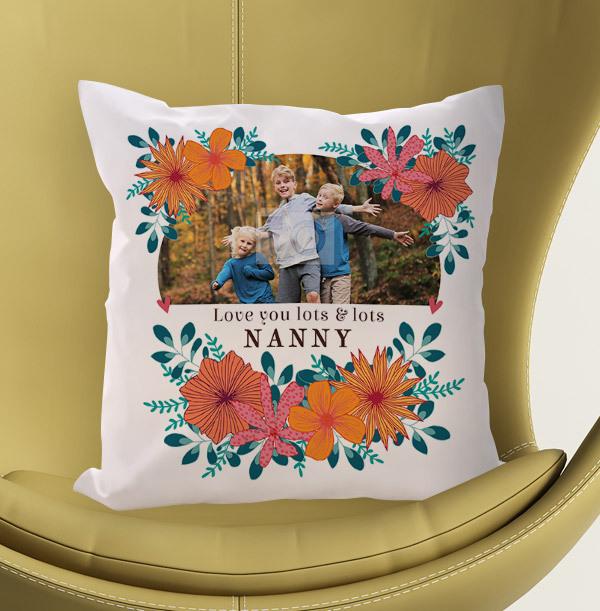 Nanny Floral Photo Personalised Cushion