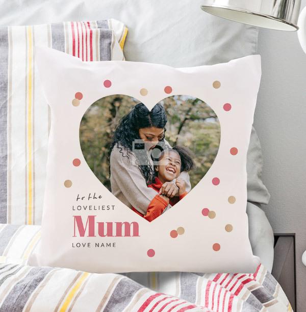 Mum Heart Photo Personalised Cushion