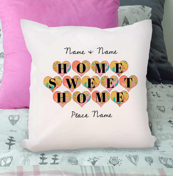 Home Sweet Home Hearts Personalised Cushion