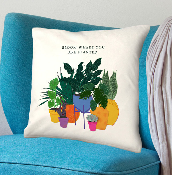 Bloom Where You Are Planted Personalised Cushion