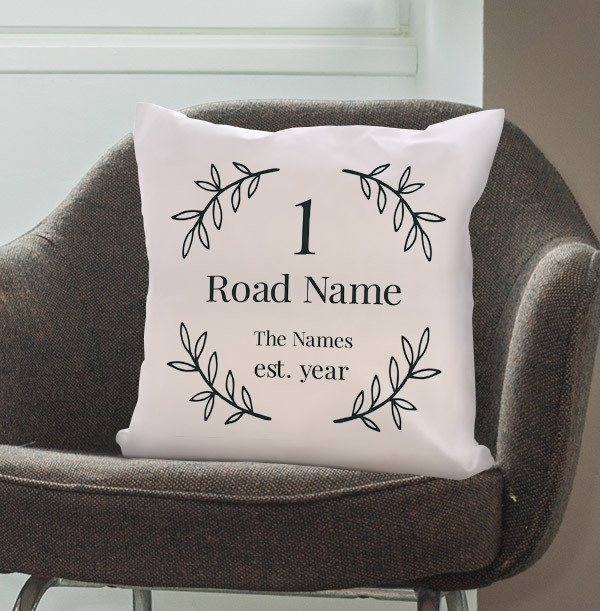 New Home Wild Leaves Personalised Cushion