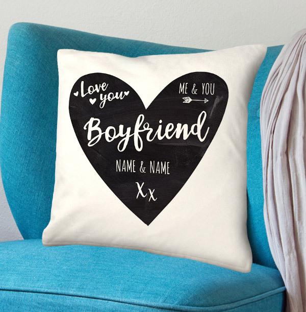 Boyfriend Personalised Heart Cushion