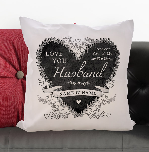 Husband Personalised Heart Cushion