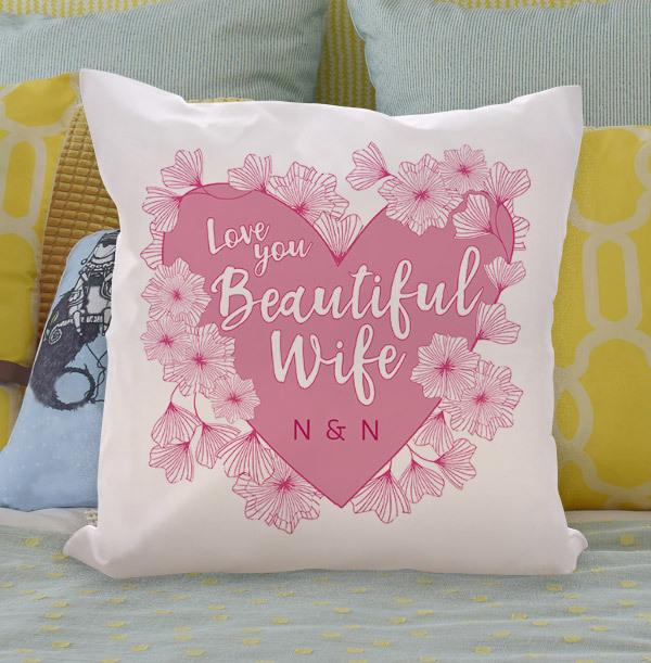 Beautiful Wife Personalised Cushion