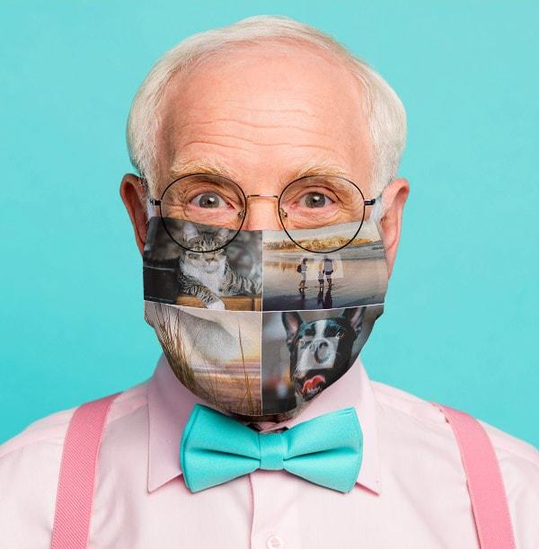 Four Photo Upload Face Mask