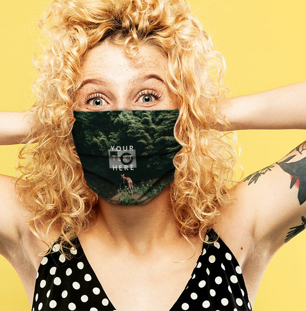 Full Photo Upload Face Mask with White Text