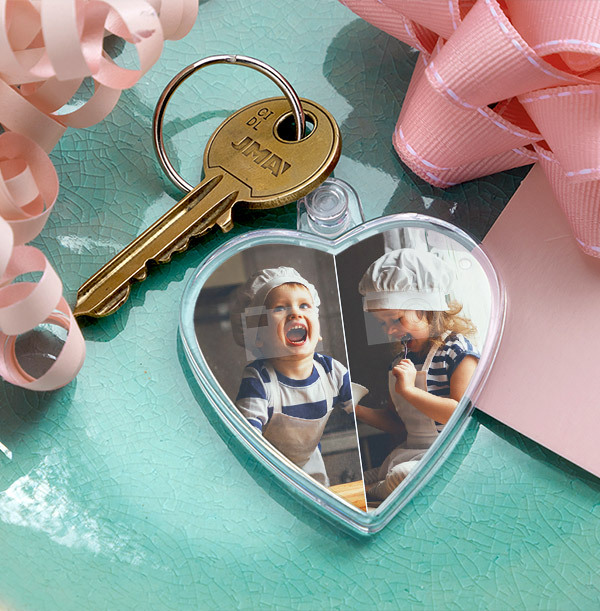 Two Photo Portrait (Left & right) Heart Keyring