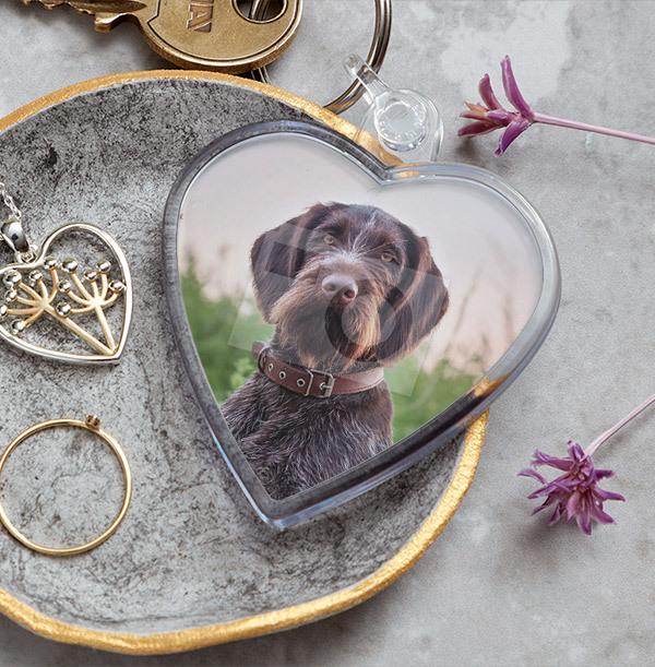 Full Photo Dog Heart Keyring