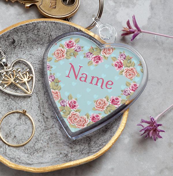 Floral Name Personalised Heart Keyring