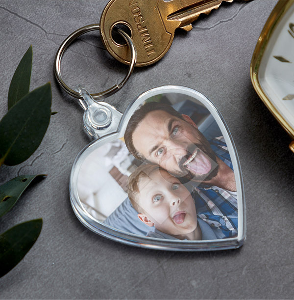 Full Photo Father's Day Heart Keyring