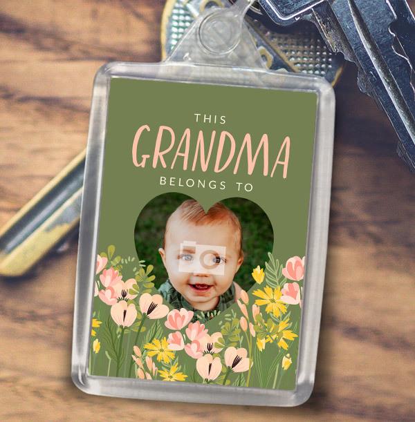 Grandma Heart Photo Keyring