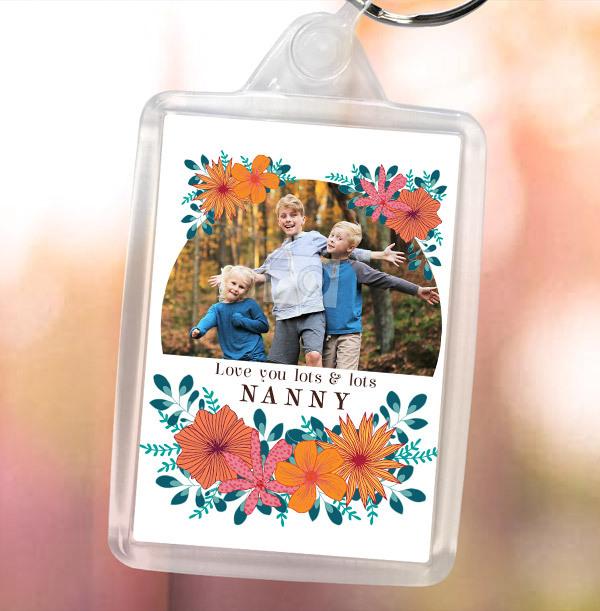 Love You Floral Nanny Photo Keyring