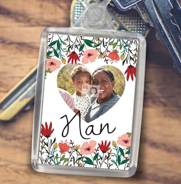 Nan Floral Heart Photo Keyring