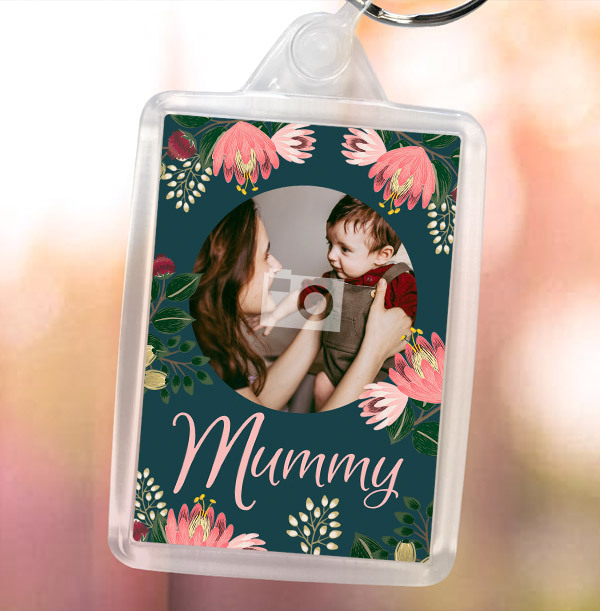 Mummy Floral Photo Keyring
