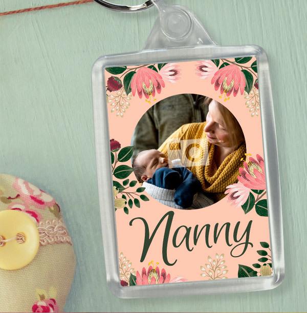 Nanny Floral Photo Keyring