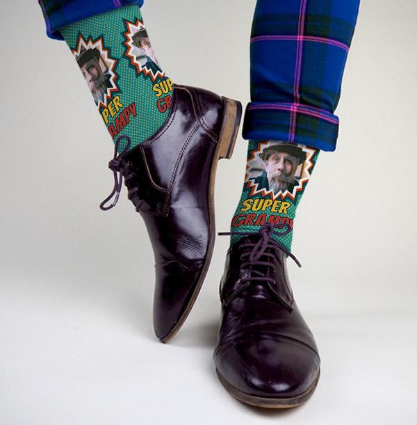 Super Grampy Photo Upload Socks