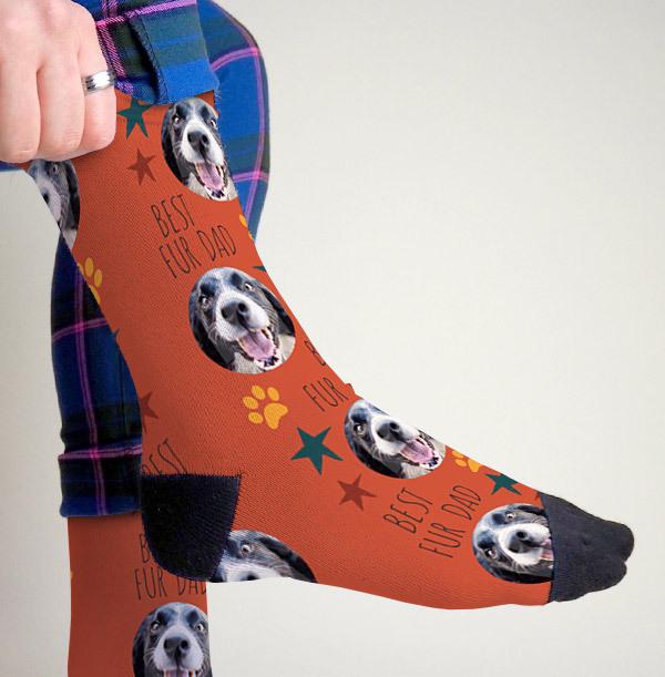 Best Fur Dad Photo Upload Socks