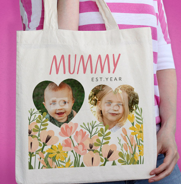 Mummy Floral Mother's Day Photo Tote Bag