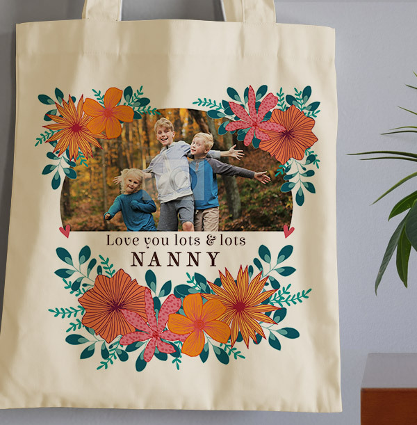 Nanny Floral Mother's Day Photo Tote Bag