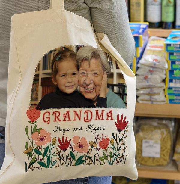 Grandma Floral Photo Tote Bag