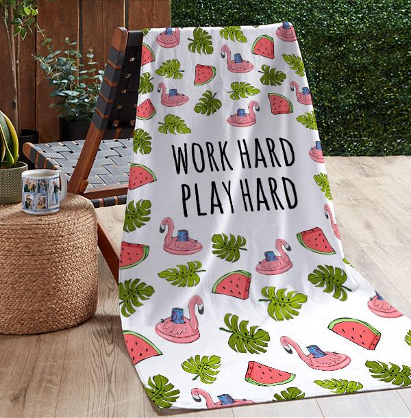 Work Hard, Play Hard Personalised Towel