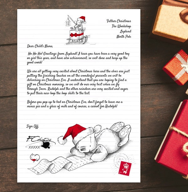 Personalised Letter From Santa - Teddy Bear