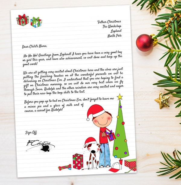 Boy's Personalised Letter From Santa