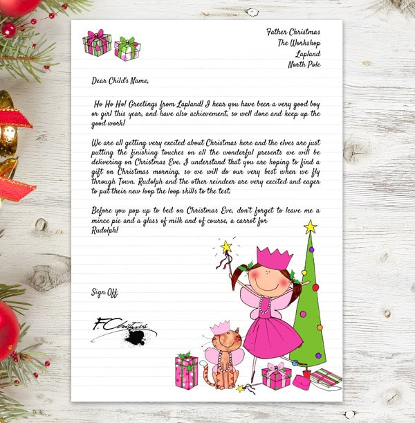 Girl's Personalised Letter From Santa