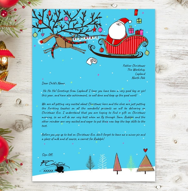 Personalised Letter From Santa - Rudolph Sleigh