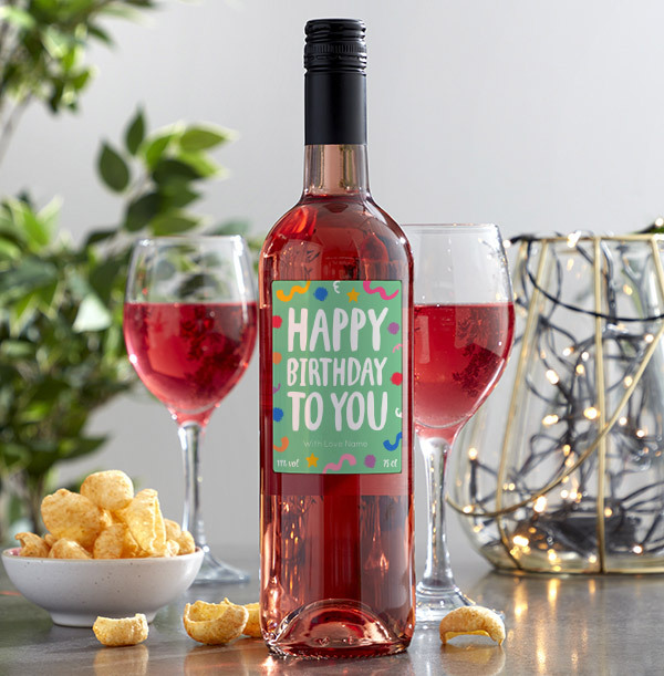 Happy Birthday Personalised Rose Wine