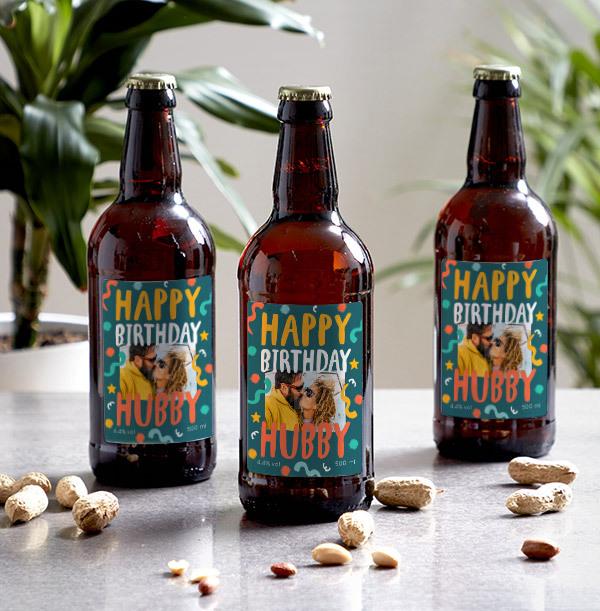Happy Birthday Hubby Photo Upload Beer - Multi Pack