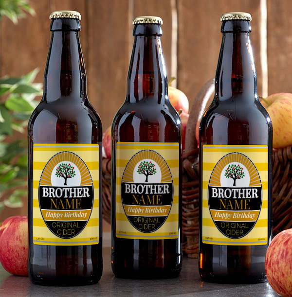 Happy Birthday Brother Personalised Cider - Multi Pack