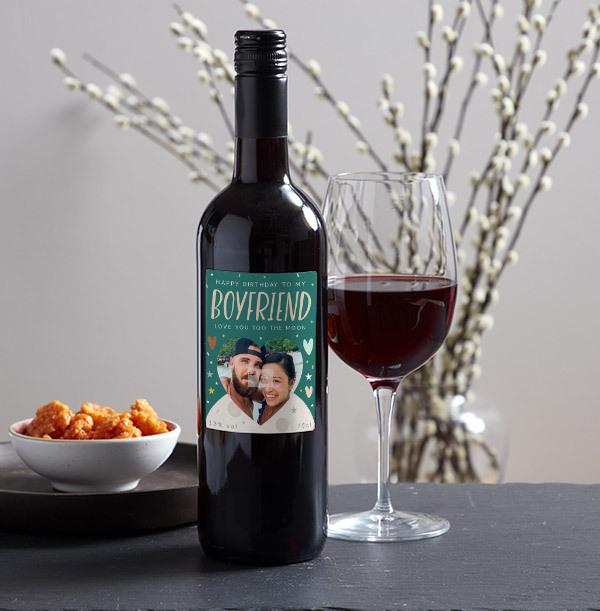 Happy Birthday Boyfriend Photo Upload Red Wine