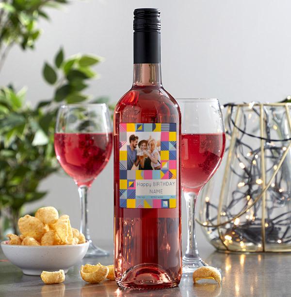 Birthday Photo Upload Rose Wine