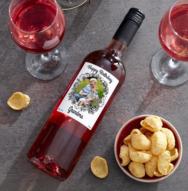 Happy Birthday Grandma Photo Upload Rose Wine
