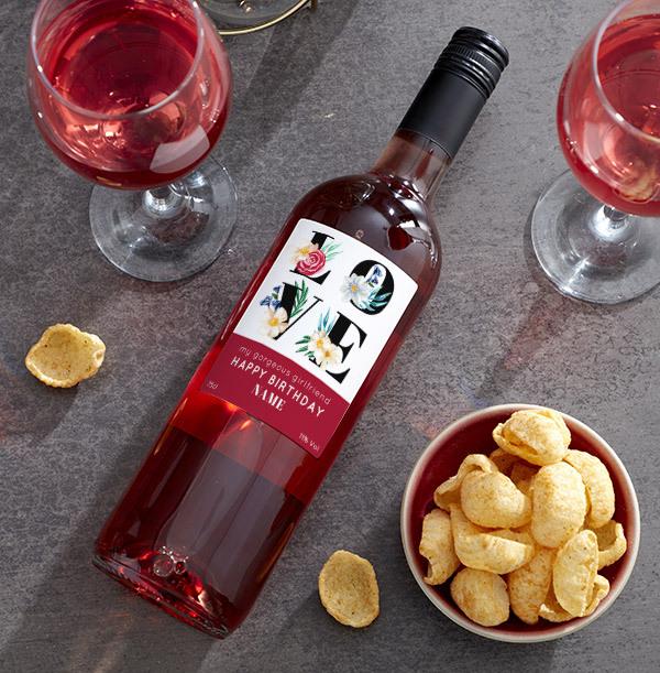 Happy Birthday Girlfriend Personalised Rose Wine