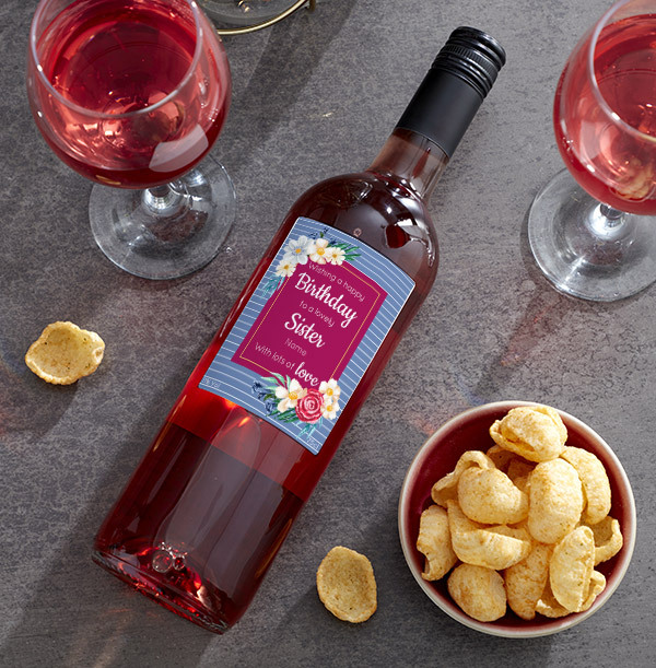 Happy Birthday Sister Personalised Rose Wine