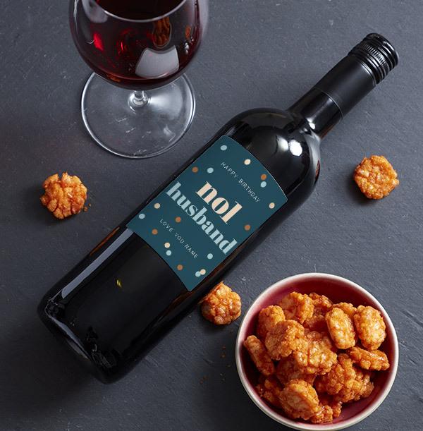 Happy Birthday Husband Personalised Red Wine
