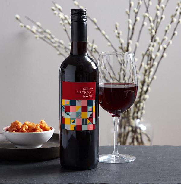 Happy Birthday Personalised Red Wine