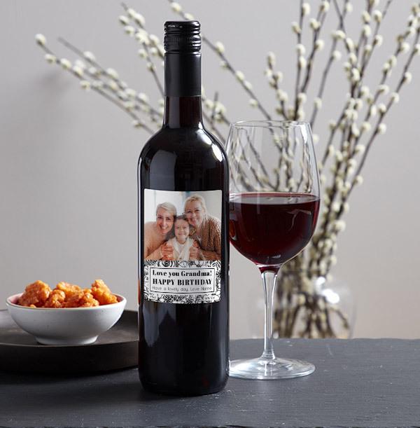 Happy Birthday Grandma Photo Upload Red Wine
